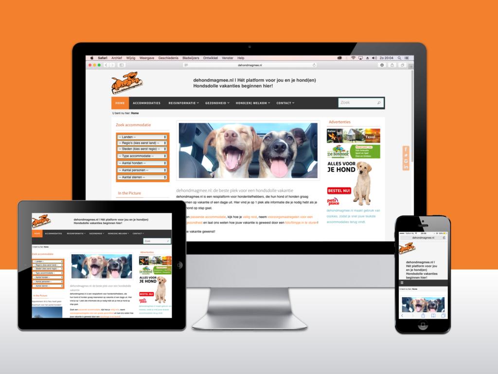 Responsive WordPress website voor De hond mag mee. Websites te zien op computer, tablet, en smartphone.