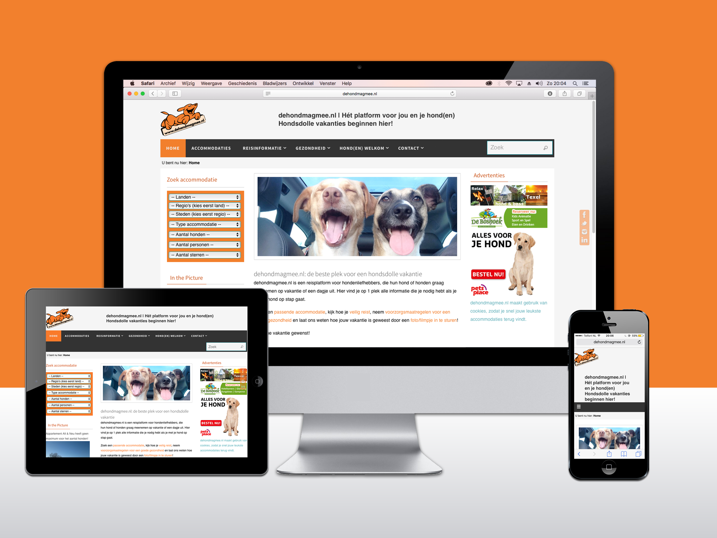 Responsive WordPress website voor De hond mag mee. Websites te zien op computer, tablet, en smartphone.